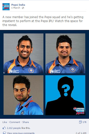 Pepsi India Reveals New Brand Ambassador Through Social Media image Pepsi India Facebook