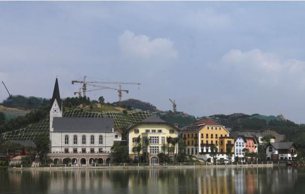 A general view of a replica of Austria's UNESCO heritage site, Hallstatt village, in China's southern city of Huizhou in Guangdong province