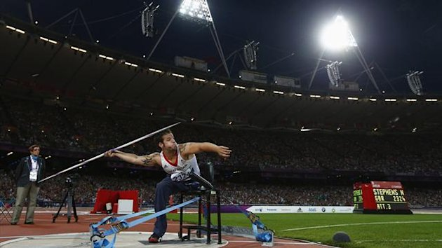 Britain's Nathan Stephens competes in the Men's Javelin F57/58 classification final during the London 2012 Paralympic Games at the Olympic Stadium (Reuters)