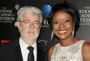 George Lucas, Melody Hobsen | Photo Credits: Jason LaVeris/FilmMagic/Getty Images