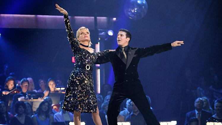 "Florence Henderson and Corky Ballas perform on ""Dancing with the Stars."""