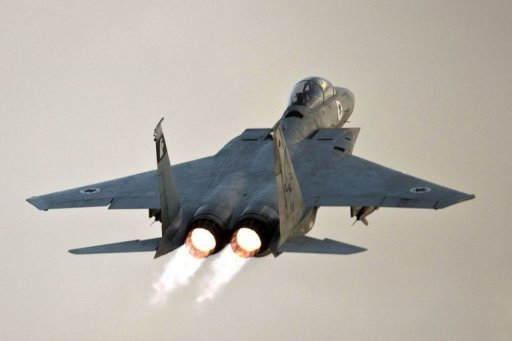 An Israeli F-15 Eagle fighter jet takes off from an Israeli Air Force Base. Oil prices spiked Monday as violence intensified in the Israel-Gaza conflict, sparking fresh concern about supplies from the crude-rich Middle East, and after a pre-weekend blast on an oil rig in the Gulf of Mexico.