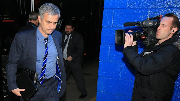 Chelsea manager Jose Mourinho arrives at Stamford Bridge for the game against Everton.