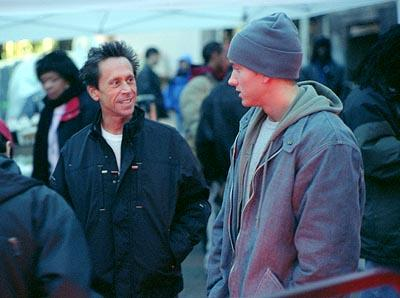 Producer Brian Grazer and Eminem on the set of Universal's 8 Mile