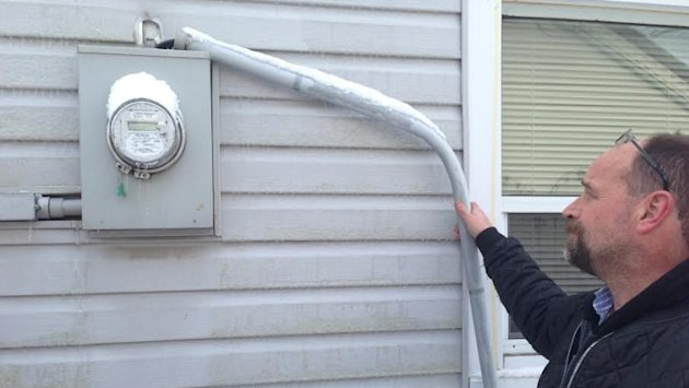 Brampton homeowner Andrew Hill had his electrical standpipe damaged in last weekend's ice storm. For damage of this kind it's the homeowner, not the electrical utility, that is responsible for repairs.