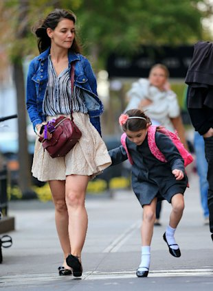 Katie Holmes Flashes Her Legs In Mini Skirt On Suri Cruise's School Run
