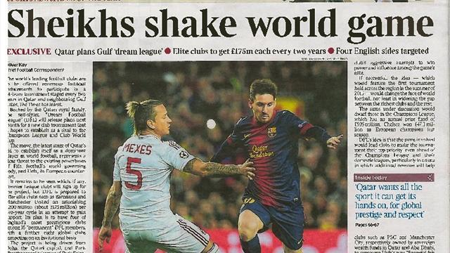 Champions League - Papers: Times admits it was hoaxed over Qatar Dream League