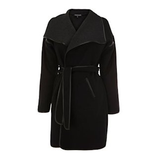 Black belted coat by Warehouse