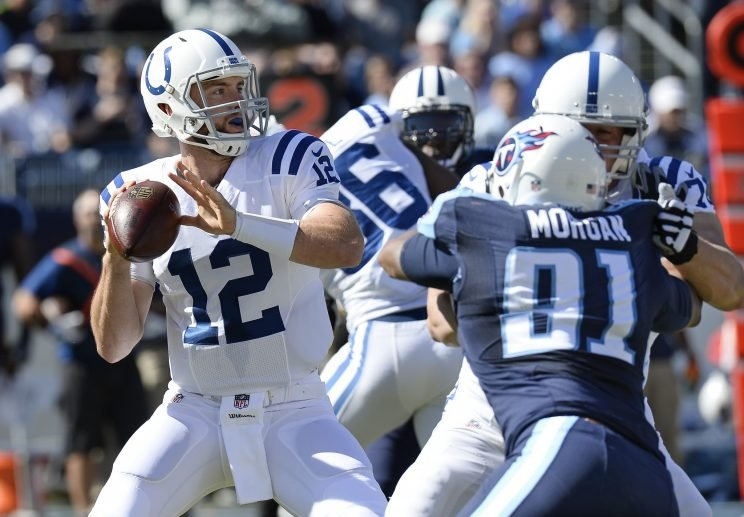 Andrew Luck threw three touchdowns in a Colts win over the Titans (AP)