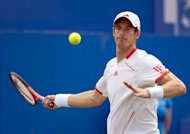 World number four Andy Murray, pictured on June 13, suffered a fresh blow to his Wimbledon preparations on Wednesday as the Scot was beaten by Janko Tipsarevic at an exhibition tournament