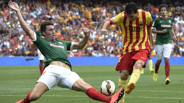 Laporte y Messi en un Barcelona-Athletic
