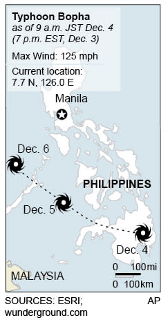 Map locates typhoon Bopha's path;