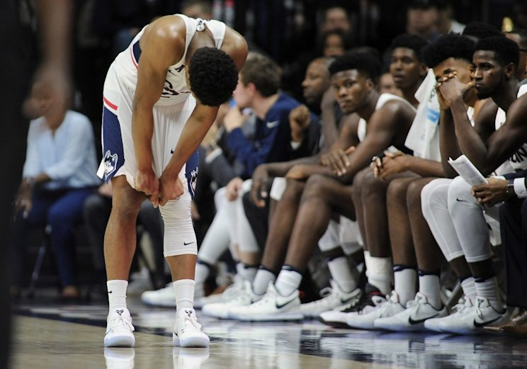 Jalen Adams and UConn suffered a stunning loss on Friday night (AP)