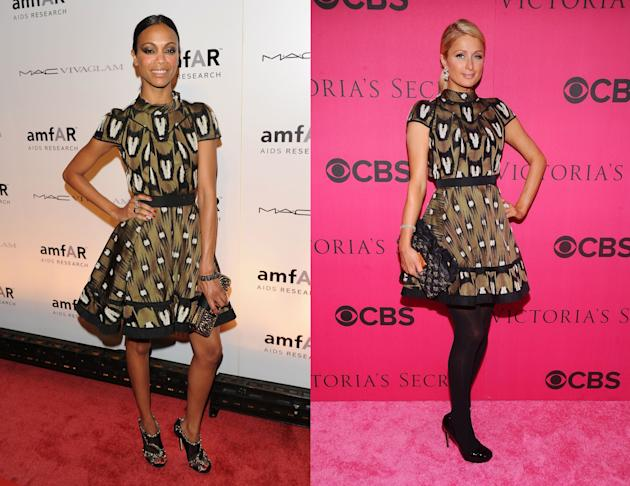Zoe Saldana vs. Paris Hilton in Louis Vuitton