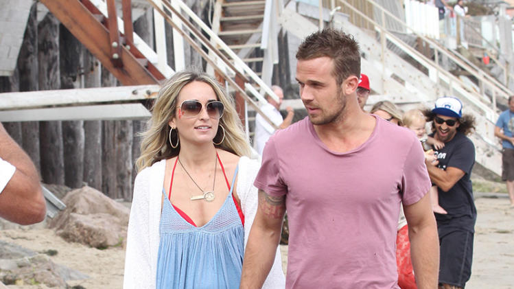 Cam Gigandet and family spend the day on Malibu Beach in Malibu.