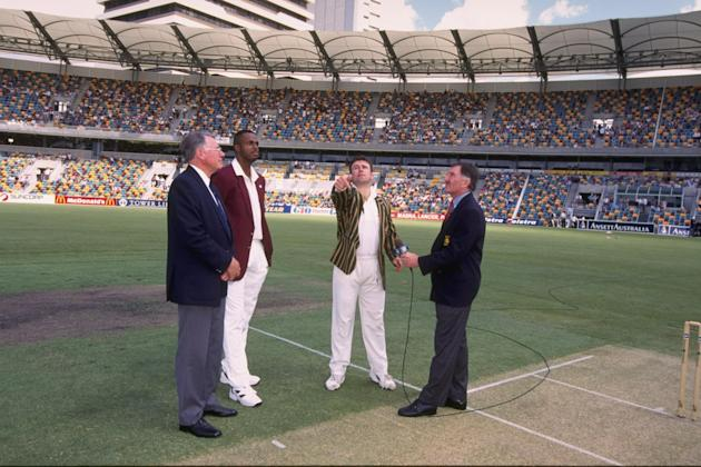 The captains toss up Courtney Walsh of the West Indies (left) and Mark Taylor of Australia