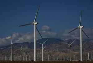 Wind turbines are seen in Palm Springs
