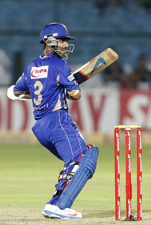 Rajasthan Royals batsman Ajinkya Rahane in action against Perth Scorchers during the CLT20 match at Sawai Mansingh Stadium, Jaipur on Sept. 29, 2013. (Photo: IANS)