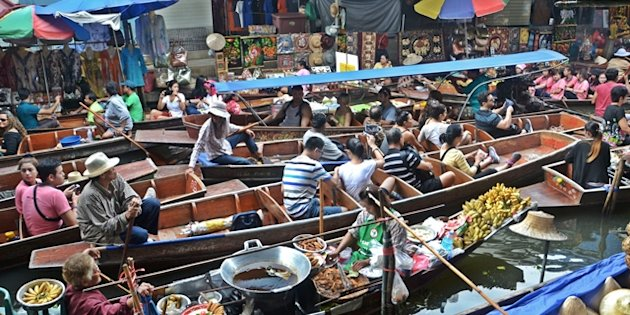 It's always fun to visit the floating markets in Bangkok