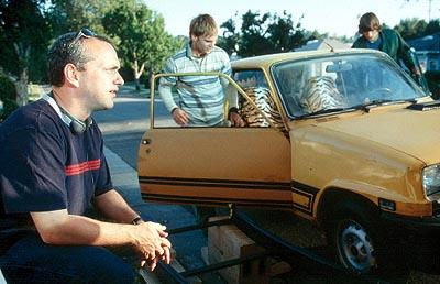 Director Danny Leiner , a vintage Renault, Seann William Scott and Ashton Kutcher on the set of 20th Century Fox's Dude, Where's My Car?