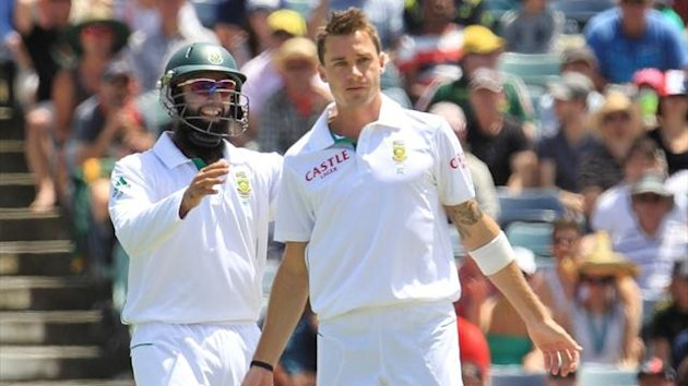 South Africa's Hashim Amla congratulates team-mate Dale Steyn after dismissing Australia's Nathan Lyon at the WACA (Reuters)