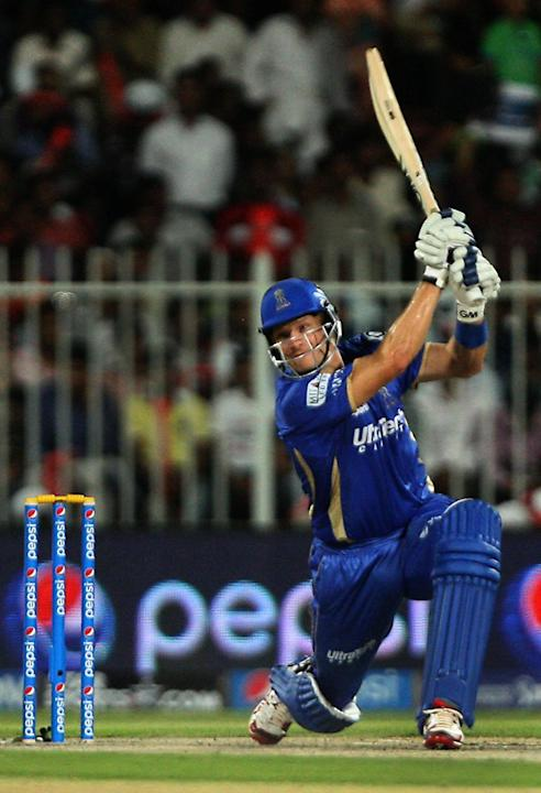 Rajasthan Royals batsman Shane Watson in action during the seventh match of IPL 2014 between Rajasthan Royals and Kings XI Punjab, played at Sharjah Cricket Stadium in Sharjah of United Arab Emirates