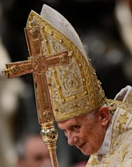Pope Benedict XVI celebrates the Vespers and Te Deum prayers in Saint Peter's Basilica the mark the end of 2012 at the Vatican on December 31, 2012. He announced his resignation Monday which will come into effect on February 28