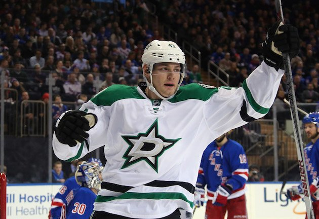 NEW YORK, NY - JANUARY 05: Valeri Nichushkin #43 of the Dallas Stars skates against the New York Rangers at Madison Square Garden on January 5, 2016 in New York City. The Rangers defeated the Stars 6-2. (Photo by Bruce Bennett/Getty Images)