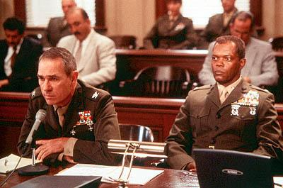 Tommy Lee Jones as Col. Hayes Hodges and Samuel L. Jackson as Col. Terry Childers in Paramount's Rules Of Engagement