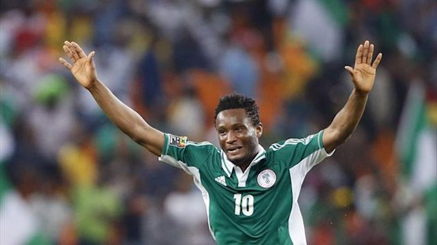 Nigeria's John Obi Mikel celebrates after winning their African Nations Cup (AFCON 2013) final soccer match against Burkina Faso in Johannesburg February 10, 2013 (Reuters)