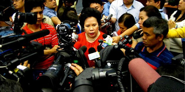 FILE PHOTO Senator Miriam Defensor-Santiago during an ambush interview at the Senate in Pasay City, south of Manila.