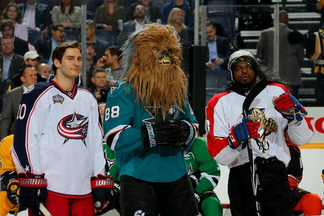 NASHVILLE, TN - JANUARY 30: (L-R) Brandon Saad #20 of the Columbus Blue Jackets, Brent Burns #88 of the San Jose Sharks, and P.K. Subban #76 of the Montreal Canadiens look on in the DraftKings NHL Accuracy Shooting during the 2016 Honda NHL All-Star Skill Competition at Bridgestone Arena on January 30, 2016 in Nashville, Tennessee. (Photo by Bruce Bennett/Getty Images)
