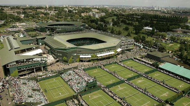 An aerial view of day two at the 2004 Wimbledon Tennis Championship