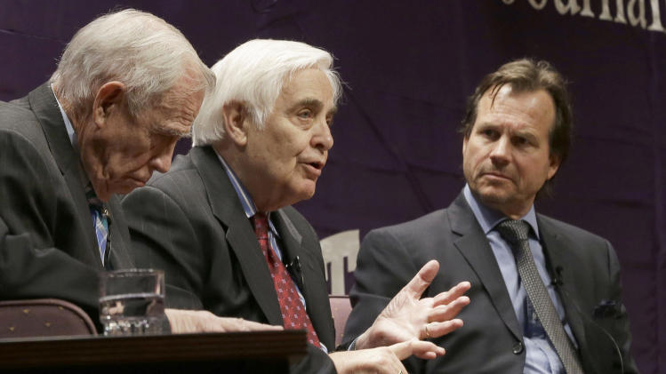 "Journalist Hugh Aynesworth, center, speaks as actor Bill Paxton, looks on and Gary DeLaune, left, sits during a panel discussion ""Fort Worth Remembers JFK,"" on the campus of Texas Christian University on Wednesday, Sept. 11, 2013, in Fort Worth, Texas. (AP Photo/LM Otero)"