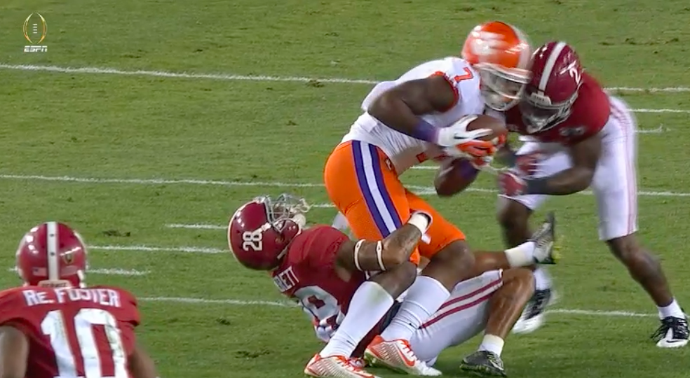 Clemson WR Mike Williams took a vicious hit during Monday night's national championship game.