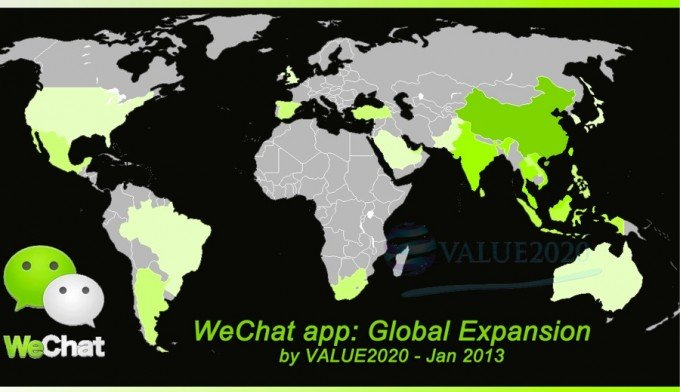 WeChat heatmap worldwide users