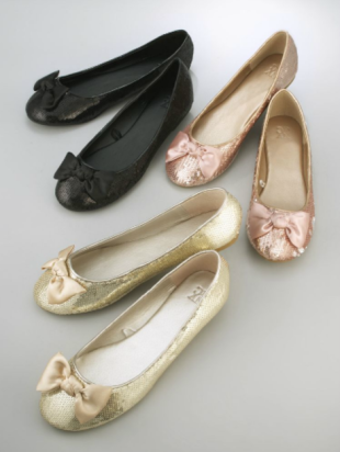 Sequin Ballet Flats with Bow