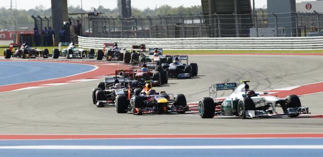 Lewis Hamilton of Britain makes a turn during the Austin F1 Grand Prix at the Circuit of the Americas in Austin