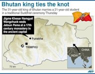 Map of Bhutan locating the ancient capital Punakha, where the popular king Jigme Khesar Namgyel Wangchuck married Jetsun Pema Thursday in a Buddhist ceremony at a 17th-century monastery