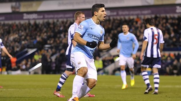 Manchester City's Sergio Aguero celebrates his goal