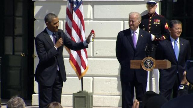 Obama cheers participants of the Wounded Warrior Soldier Ride
