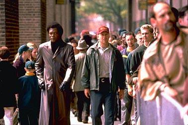 Samuel L. Jackson and Bruce Willis in Touchstone's Unbreakable