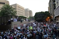 Thousands protest outside the US embassy in Cairo, on September 11, against a film deemed offensive to Islam. The protesters, angered by the film produced by expatriate members of Egypt's Christian minority residing in the United States, tore down the US flag during the protest at the embassy.