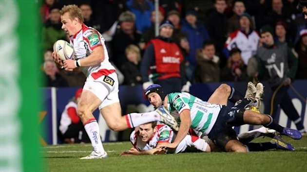Ulster Luke Marshall scores a try during the Heineken Cup match at Ravenhill Stadium, Ulster.