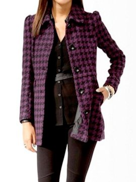 Houndstooth flare coat