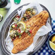 Cornmeal-Dusted Catfish with Quinoa Sauté