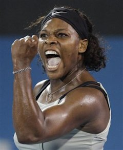 FILE - This Jan. 14, 2009, file photo shows Serena Williams after winning a break point in the third set tie break in her match against Denmark's Caro
