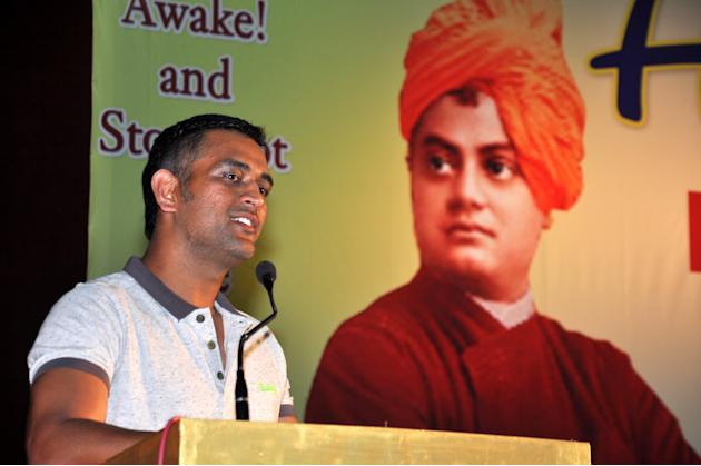 Indian Cricket Captain Mahendra Singh Dhoni speaks during Youth Leadership Development Programme organised on the occasion of 150th Birth Anniversary of Swami Vivekanand at Hotwar Mega Sports Complex