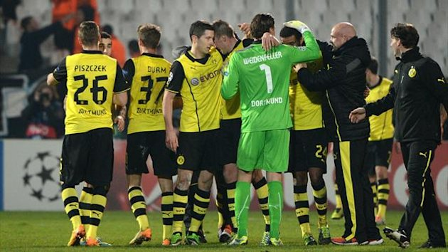 Dortmund Players celebrate play-offs 2013