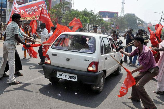 Trade unions' strike disrupts life across India